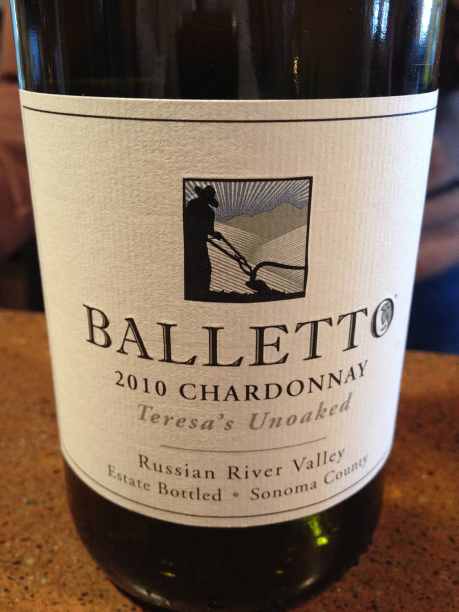 Balletto Winery – Chardonnay 2010 – Teresa's Unoaked – Russian River Valley – Sonoma