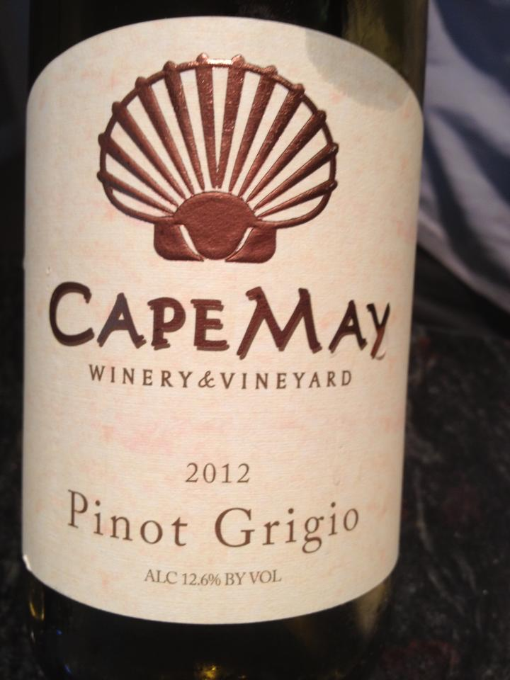 Cape May Winery – Pinot Grigio 2012 – Outer Coastal Plain
