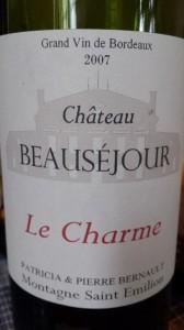 Le Charme de Beauséjour 2007 – Montagne Saint-Emilion