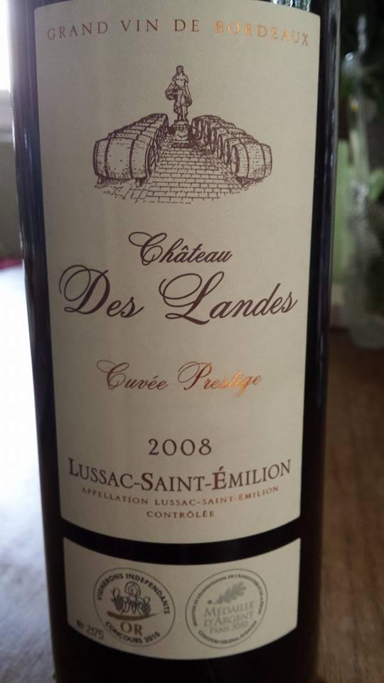 Château des Landes – Cuvée Prestige 2008 – Lussac Saint-Emilion
