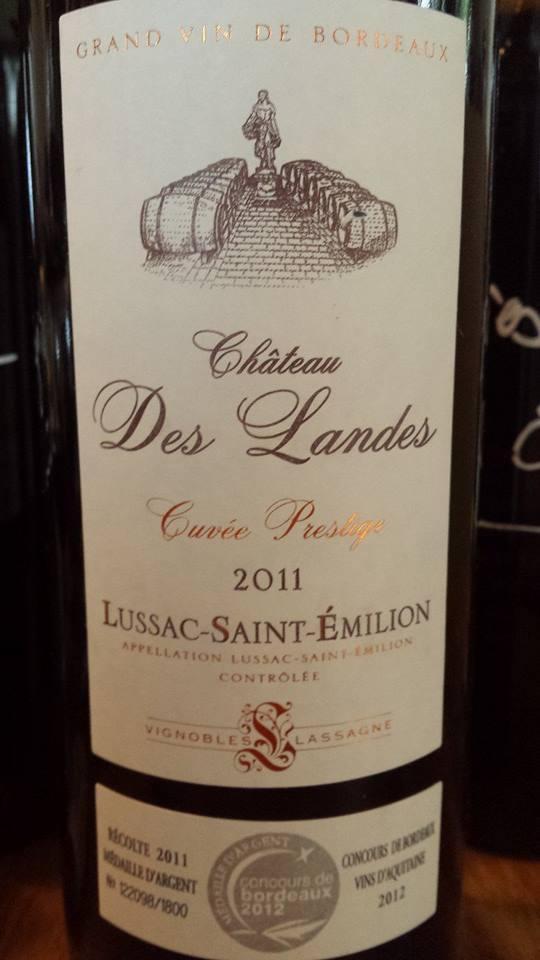 Château des Landes – Cuvée Prestige 2011 – Lussac Saint-Emilion