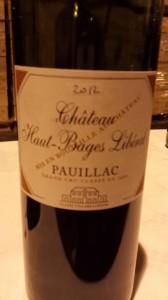 Château Haut-Bages Libéral – 5ème Cru Classé de Pauillac 2012