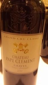 Château Pape Clément – Pessac Léognan (Grand Cru Classé de Graves) 2012