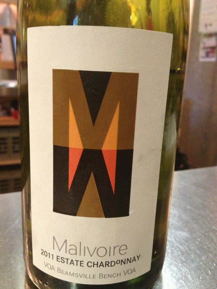 Malivoire Winery – Estate Chardonnay 2011- VQA Beamsville Bench VQA