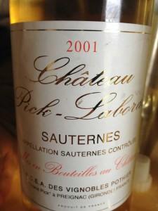 Château Pick-Laborde 2001- Sauternes