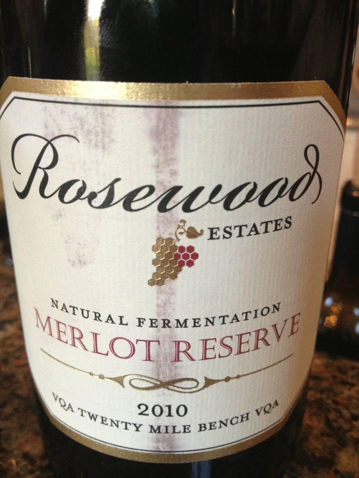Rosewood Estates Winery – Merlot Réserve 2010 – Natural Fermentation – Twenty Mile Bench