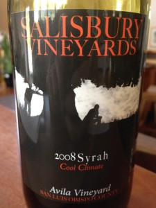 Salisbury Vineyards – Syrah 2008 (Avila Vineyard) – San Luis Obispo County
