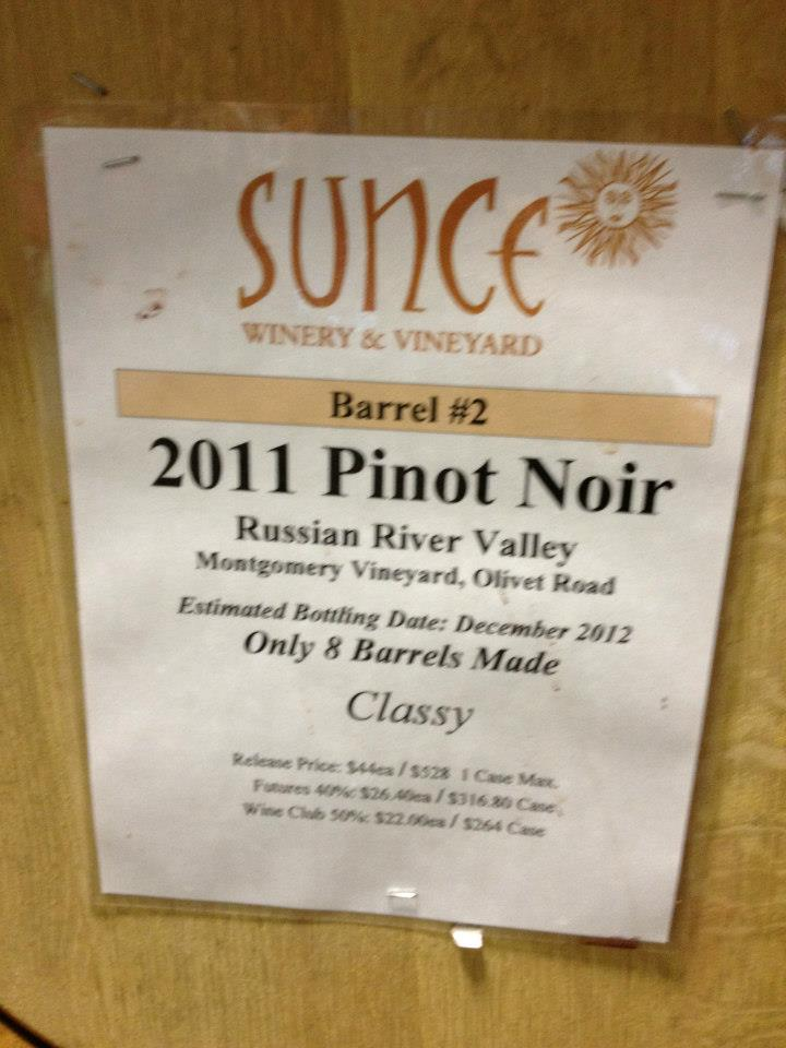 Sunce Winery – Pinot Noir 2011 – Russian River Valley – Sonoma