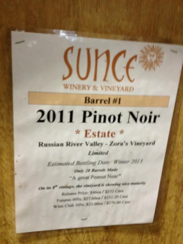 Sunce Winery – Pinot Noir Estate 2011 – Sonoma