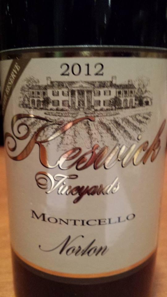 Keswick Vineyards – Norton Estate Reserve 2012 – Monticello