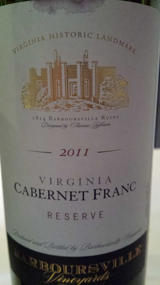 Barboursville Vineyards – Cabernet Franc Réserve 2011 – Monticello – Virginia