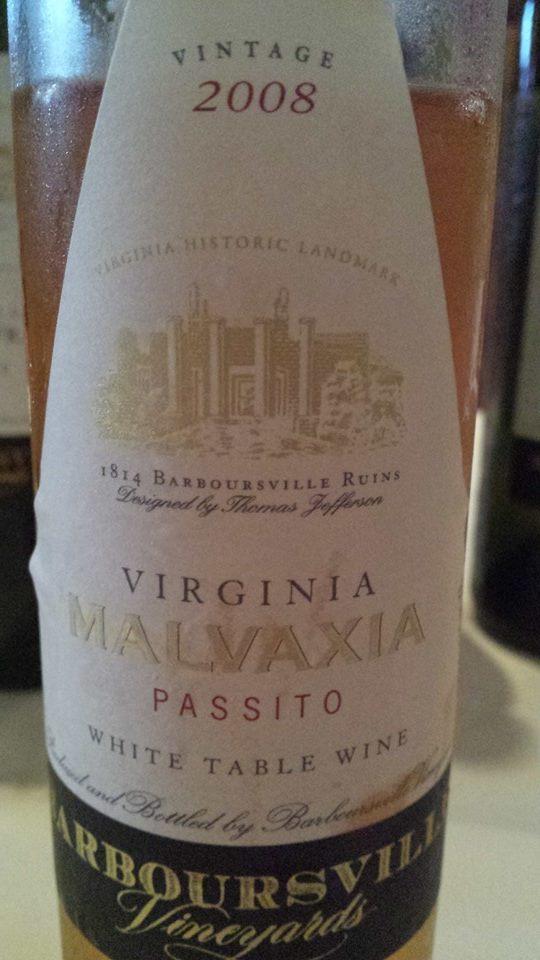 Barboursville Vineyards – Malvaxia Passito 2008 – White Table Wine – Virginia