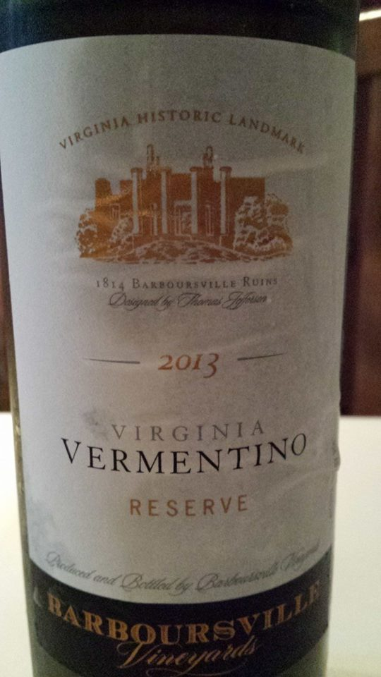 Barboursville Vineyards – Vermentino Réserve 2013 – Monticello – Virginia