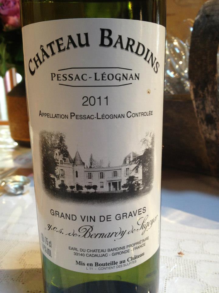 Château Bardins 2011 – Pessac Leognan (white)