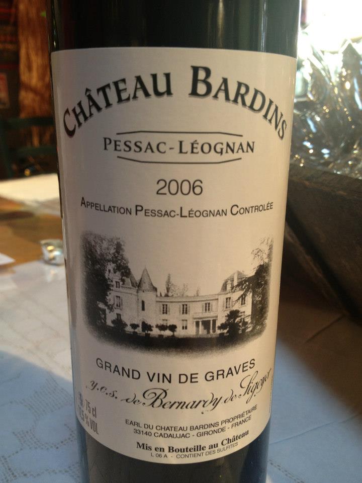 Château Bardins 2006 – Pessac Leognan