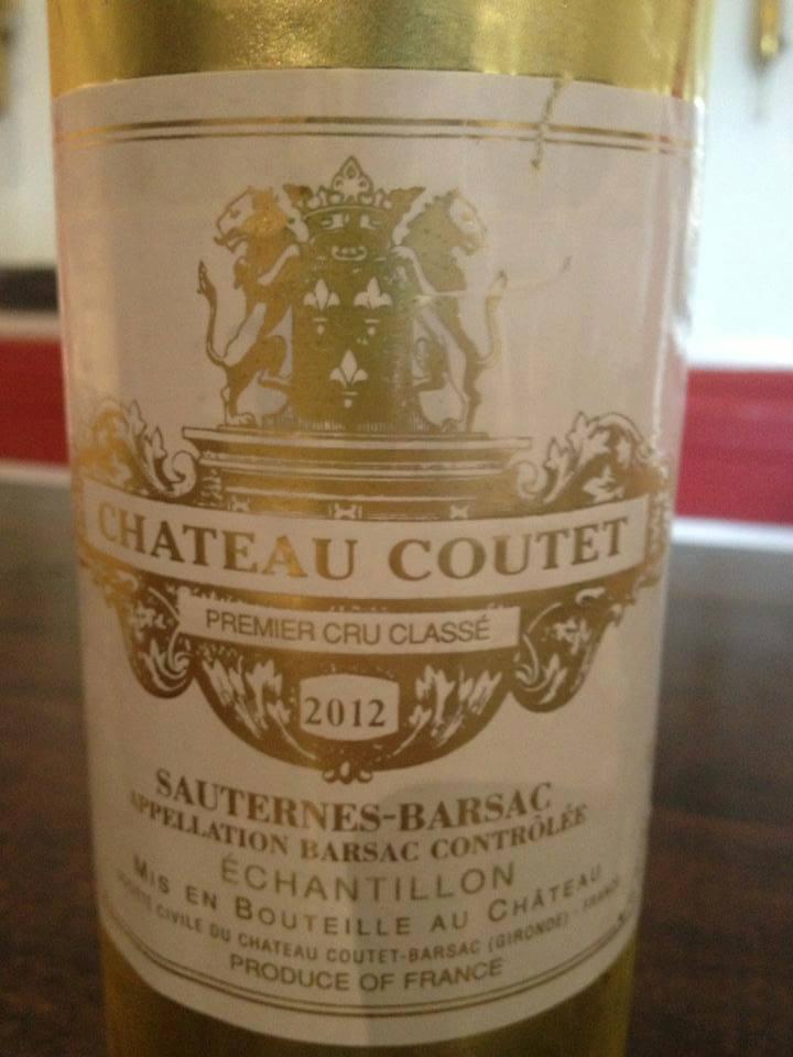 Château Coutet 2012 – 1er Grand Cru Classé de Sauternes à Barsac