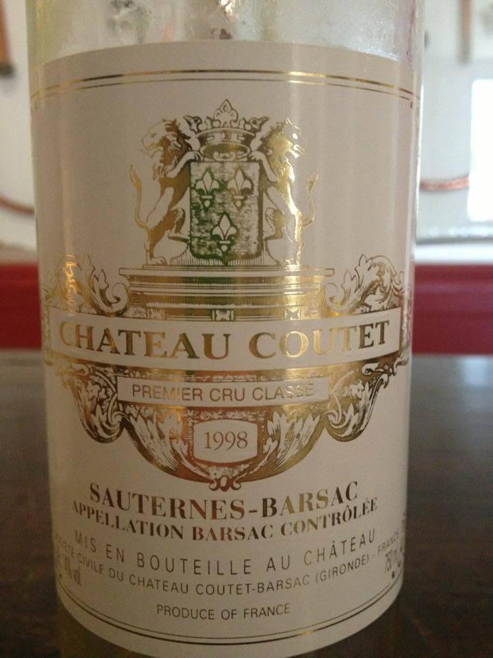 Château Coutet 1998 – 1er Grand Cru Classé de Sauternes à Barsac