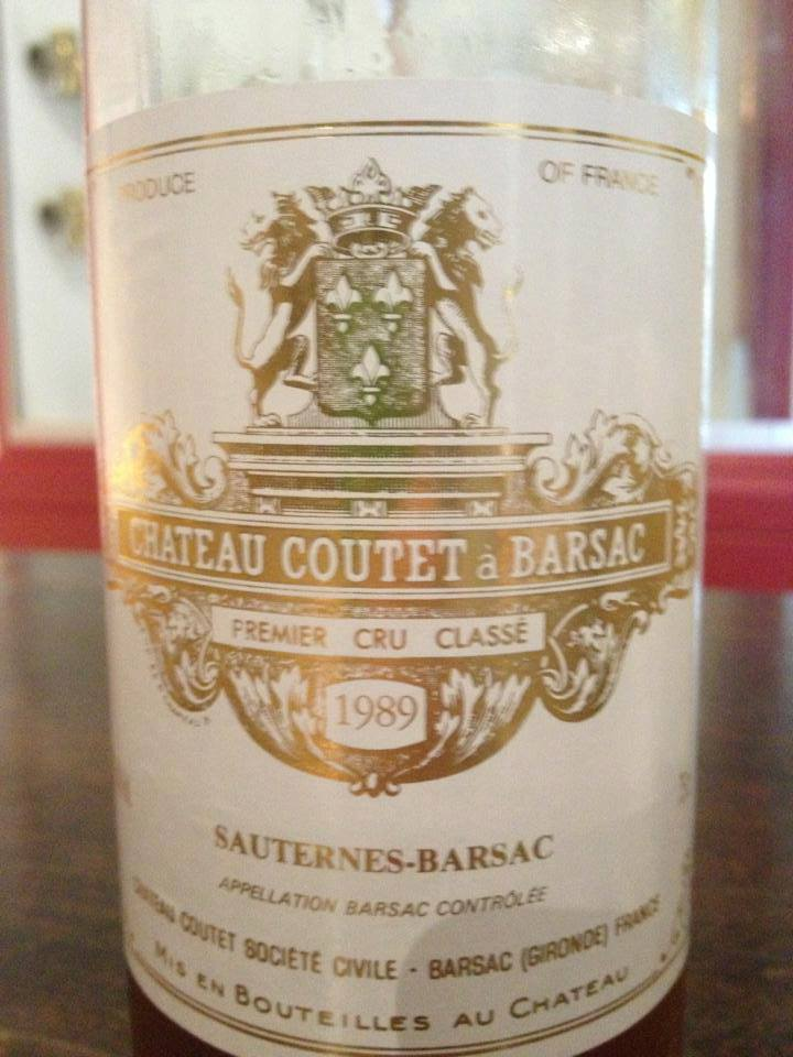 Château Coutet 1989 – 1er Grand Cru Classé de Sauternes à Barsac
