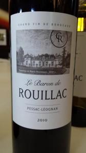 Le Baron de Rouillac 2010 – Pessac Léognan (rouge)