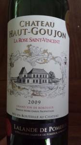 Château Haut-Goujon 2009 – La Rose Saint-Vincent – Lalande de Pomerol