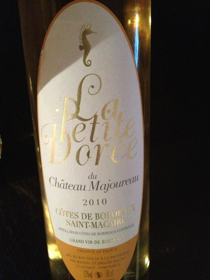 La petite dorée du Château Majoureau 2010 – Côtes de Bordeaux Saint-Macaire