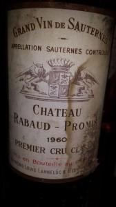 Château Rabaud-Promis 1960 – 1er Grand Cru Classé de Sauternes
