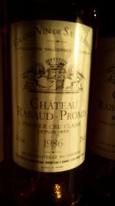 Château Rabaud-Promis 1986 – 1er Grand Cru Classé de Sauternes