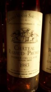 Château Rabaud-Promis 1983 – 1er Grand Cru Classé de Sauternes