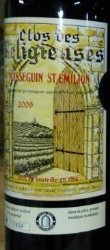 Clos des Religieuses 2009 – Puisseguin Saint-Emilion