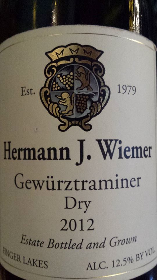 Hermann J. Wiemer Vineyard – Gewurztraminer Dry 2012 – Finger Lakes