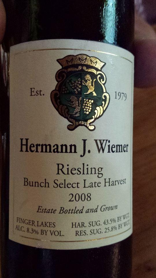 Hermann J. Wiemer Vineyard – Riesling Bunch Select Late Harvest 2008 – Finger Lakes
