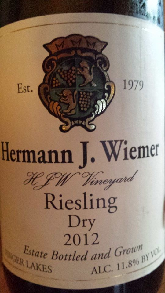 Hermann J. Wiemer Vineyard – Dry Riesling 2012 – Finger Lakes