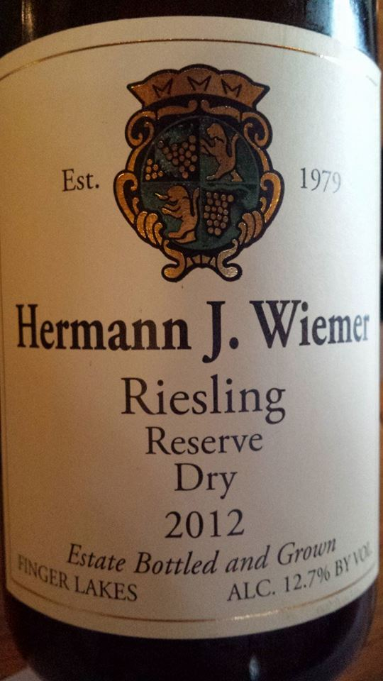 Hermann J. Wiemer Vineyard – Dry Riesling Reserve 2012 – Finger Lakes