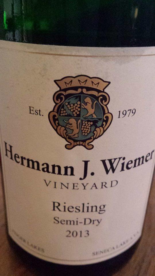 Hermann J. Wiemer Vineyard – Riesling Semi-Dry 2013 – Finger Lakes – Seneca Lake AVA