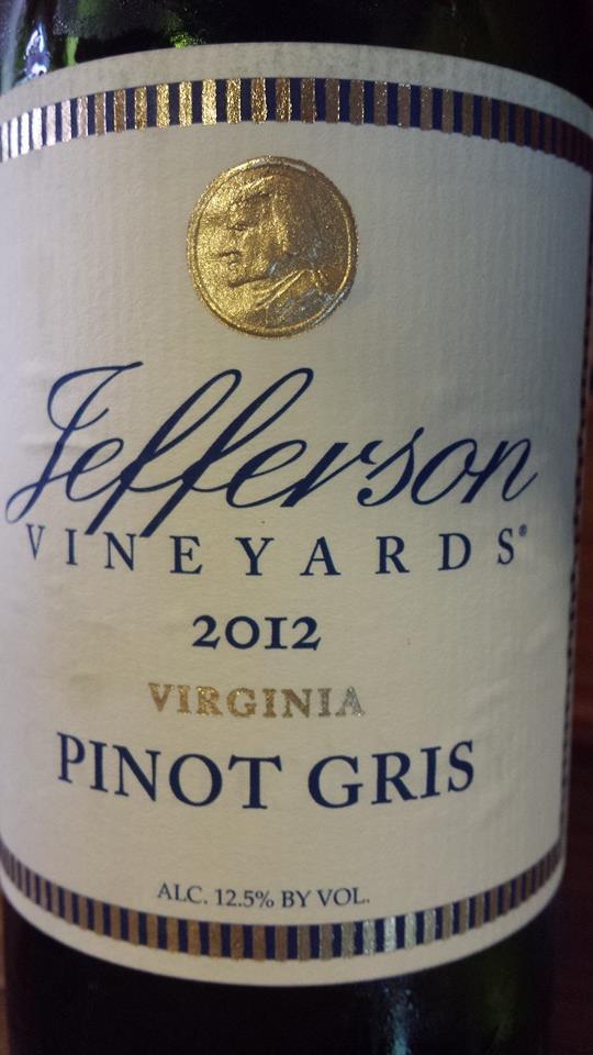 Jefferson Vineyards – Pinot Gris 2012 – Virginia