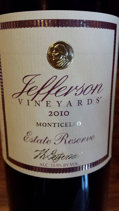 Jefferson Vineyards – Estate Reserve 2010 – Monticello