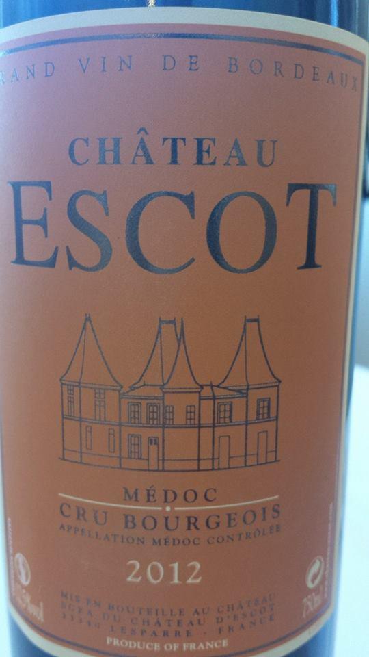 Château Escot 2012 – Médoc – Cru Bourgeois