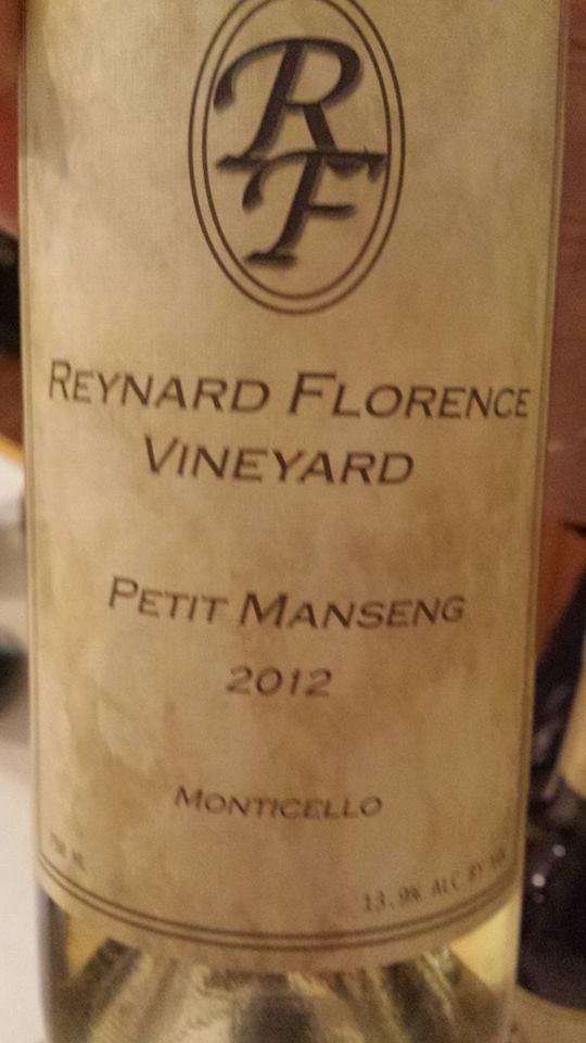Reynard Florence Vineyard – Petit Manseng 2012 – Monticello