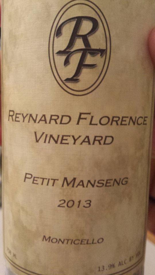 Reynard Florence Vineyard – Petit Manseng 2013 – Monticello