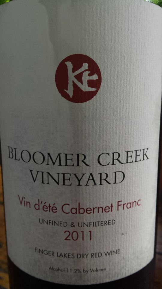 Bloomer Creek Vineyard – Vin d'été Cabernet Franc 2011 – Unfined & Unfiltered – Finger Lakes