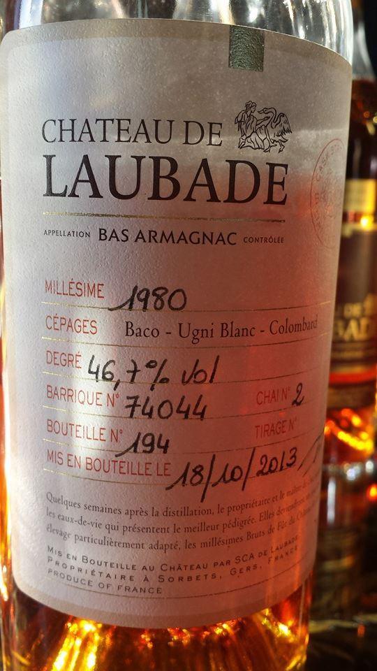 Château de Laubade – Millésime 1980 Brut de fût – Bas Armagnac