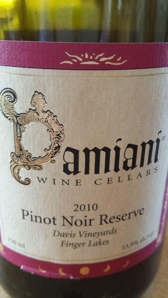 Damiani Wine Cellars – Pinot Noir Réserve 2010 – Davis Vineyards – Finger Lakes