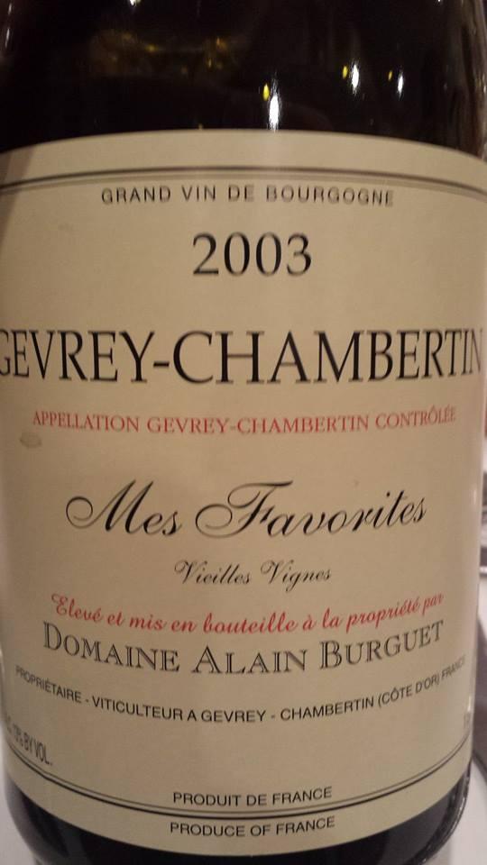 Domaine Alain Burguet – Gevrey-Chambertin – Mes Favorites 2003 – Vieilles Vignes