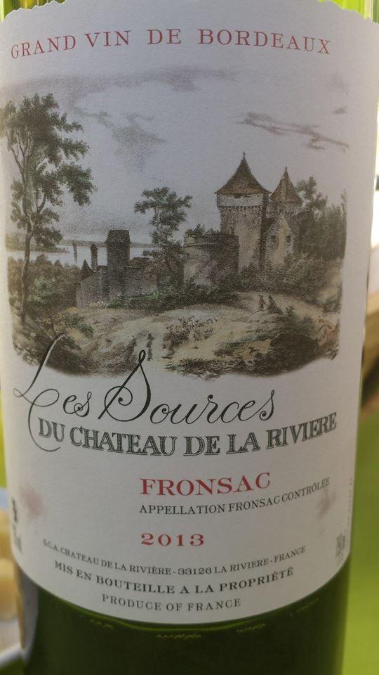 Les Sources du Château De La Rivière 2013 – Fronsac