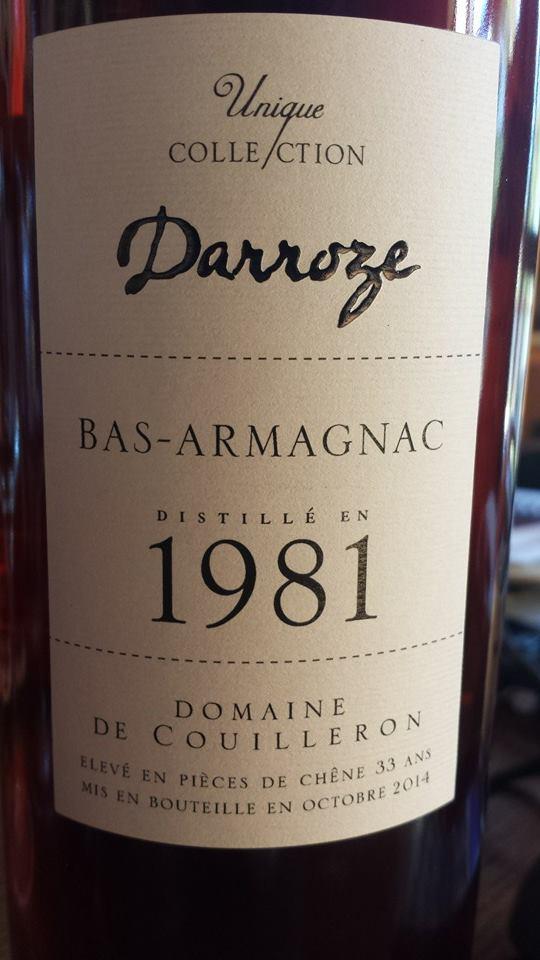 Unique Collection Darroze – Millésime 1981 – Domaine de Couilleron – Bas-Armagnac