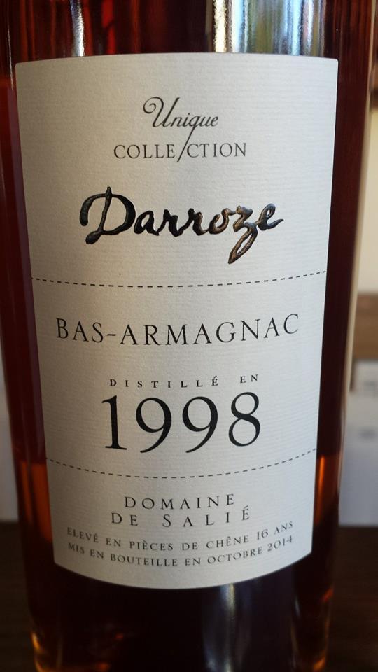 Unique Collection Darroze – Millésime 1998 – Domaine de Salié – Bas-Armagnac