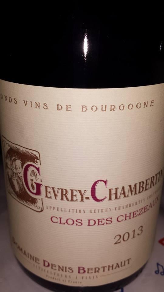 Domaine Denis Berthaut – Clos des chezeaux 2013 – Gevrey-Chambertin