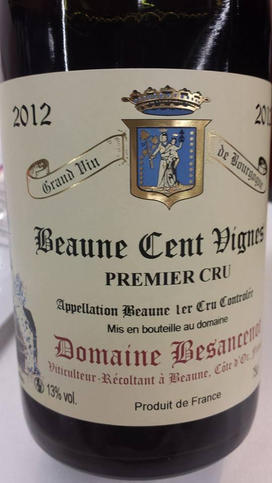 Domaine Besancenot 2012 – Beaune Cent Vignes 1er Cru