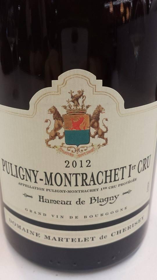 Domaine Martelet de Cherisey 2012 – Hameau de Blagny – Puligny-Montrachet 1er Cru