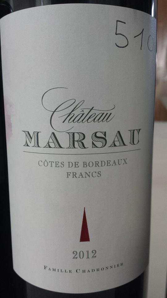 Château Marsau 2012 – Francs Côtes-de-Bordeaux